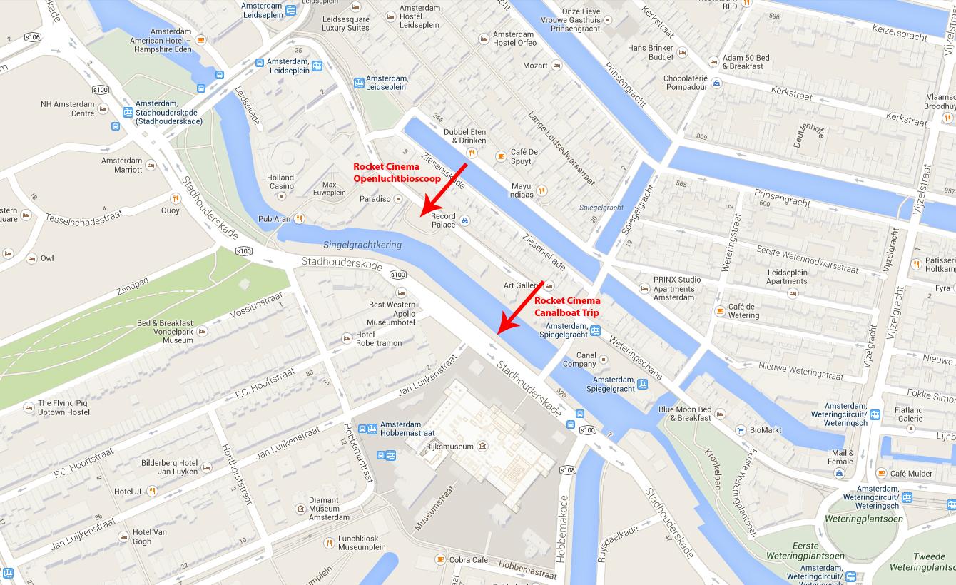 Google Maps locaties Rocket Cinema met pijl